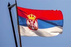 Bandera servia Imagen de archivo libre de regalías