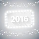 Bandera simple 2016 con las luces de la Navidad Foto de archivo libre de regalías