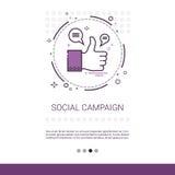 Bandera social del web de la información del contenido del negocio de la gestión de la campaña con el espacio de la copia Imagen de archivo