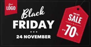 Bandera social horizontal de la red de la venta negra de viernes Fotos de archivo libres de regalías