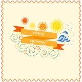 Bandera soleada de la cinta del verano Imagenes de archivo
