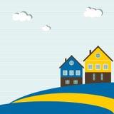 Bandera sueca abstracta con las casas tradicionales, las nubes, el cielo azul y las líneas Imagen de archivo
