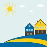 Bandera sueca abstracta con las casas tradicionales, las nubes, el cielo azul y Sun Fotos de archivo libres de regalías