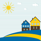 Bandera sueca abstracta con las casas tradicionales, Sun, las nubes, el cielo azul y las líneas Imagen de archivo libre de regalías