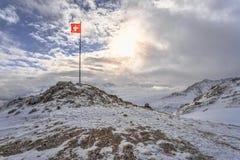 Bandera suiza en la nieve foto de archivo libre de regalías