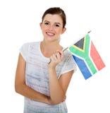 Bandera surafricana de la muchacha Imagen de archivo libre de regalías