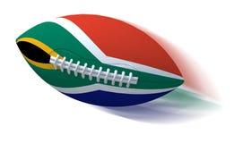 Bandera surafricana en bola de rugbi con la falta de definición de movimiento en blanco Imágenes de archivo libres de regalías