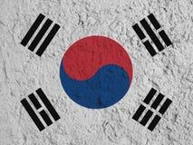 Bandera surcoreana pintada en la pared Fotos de archivo libres de regalías