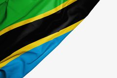 Bandera tanzana de la tela con el copyspace para su texto en el fondo blanco stock de ilustración