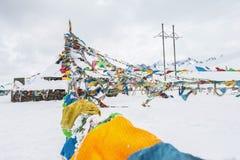 Bandera tibetana en la nieve Imágenes de archivo libres de regalías