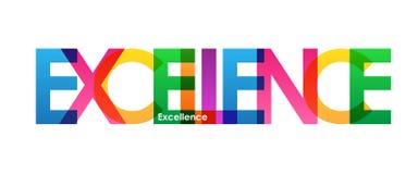 Bandera traslapada colorida de las letras de la EXCELENCIA ilustración del vector