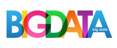 Bandera traslapada colorida de las letras de los DATOS GRANDES stock de ilustración