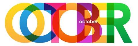 Bandera traslapada colorida del vector de las letras de OCTUBRE stock de ilustración