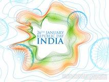 Bandera tricolora abstracta con la bandera india para el día feliz de la república del 26 de enero de la India stock de ilustración