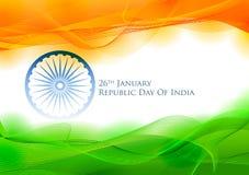 Bandera tricolora con la bandera india para el día feliz de la república del 26 de enero de la India libre illustration