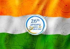 Bandera tricolora con la bandera india para el día feliz de la república del 26 de enero de la India ilustración del vector