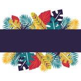Bandera tropical con las hojas del colorfull El diseño herbario con las plantas para las tarjetas, invitación, carteles, ahorra l ilustración del vector