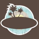 Bandera tropical de la playa con la palma del árbol Imagen de archivo libre de regalías