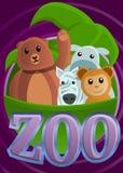 Bandera tropical del concepto del parque zoológico, estilo de la historieta stock de ilustración