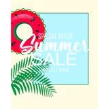 Bandera tropical del verano con la fruta y la palmera de la sandía ilustración del vector