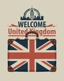 Bandera turística con la maleta y la bandera de Reino Unido ilustración del vector