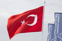 Bandera turca roja Fotos de archivo