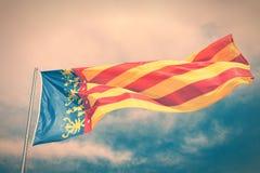 Bandera valenciana de la comunidad Imagenes de archivo