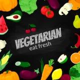 Bandera vegetariana de la pizarra Fruta y Veg Alimento sano fresco imagen de archivo