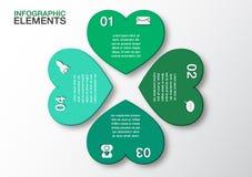 Bandera verde moderna de las opciones del infographics del corazón, concepto del negocio Foto de archivo libre de regalías