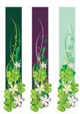 Bandera vertical del resorte con los tréboles florecientes Imagen de archivo
