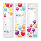 Bandera vertical Editable del feliz cumpleaños con el sistema de la decoración del globo y del confeti diseño de la bandera x Fotos de archivo