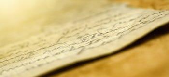 Bandera vieja de la letra de la escritura Fotografía de archivo libre de regalías