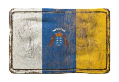 Bandera vieja de las islas Canarias stock de ilustración