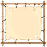 Bandera vieja del paño en el marco de bambú Imagen de archivo