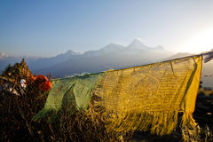 Bandera vieja del rezo en el hillde Poonen Nepal fotografía de archivo