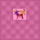 Bandera violeta del fondo de la tarjeta del día de San Valentín del amor Foto de archivo