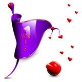 Bandera violeta del vector con los corazones rojos Imagen de archivo