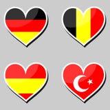 Bandera-y-corazones Imagen de archivo