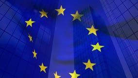 Bandera y edificios europeos ilustración del vector
