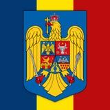 Bandera y escudo de armas de Rumania ilustración del vector