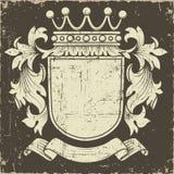 Bandera y escudo del Grunge Fotos de archivo