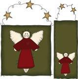 Bandera y etiqueta del ángel del arte popular Imágenes de archivo libres de regalías
