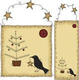 Bandera y etiqueta del árbol de navidad del arte popular Foto de archivo