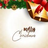 Bandera y fondo de la Navidad de las campanas de oro libre illustration