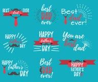 Bandera y giftcard felices del día del ` s del padre Ilustración del vector