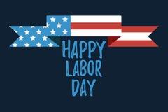 Bandera y giftcard felices del Día del Trabajo Fotos de archivo