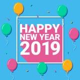 Bandera 2019 y globos de la Feliz Año Nuevo stock de ilustración