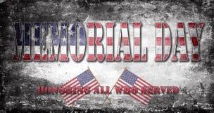 Bandera y letras 10 de Memorial Day Imagenes de archivo