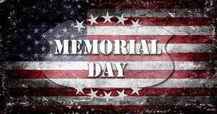 Bandera y letras 6 de Memorial Day Imagen de archivo libre de regalías