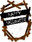 Bandera y madera asustadizas de Halloween Fotos de archivo